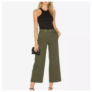 THEORY Namid Wide Cropped Gold Button Sailor Pants